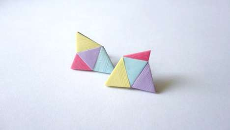 These Geometric Pop Earrings Combine Triangles for an Edgy Urban Look