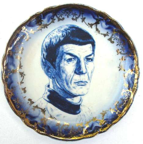 Blue Spock Portrait Plate Combines Fancy Tableware with Star Trek Iconography