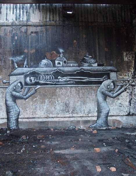 Grayscale Macabre Graffiti