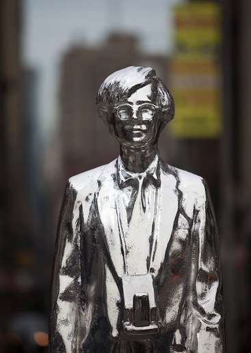 Creative Misfit Statues - A Metallic Andy Warhol Monument Shines Bright in Union Square