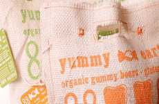 Bright Burlap Candy Branding - Yummy Earth Packaging Embraces a More Organic Materiality