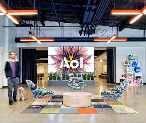 Exuberant Media Workspaces - This AOL Office Elevates Open Office Concepts