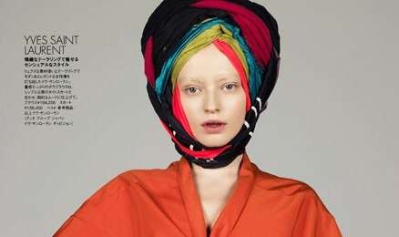 Technicolor Turbans - True Colors in Elle Japan Features Vibrant Headwear