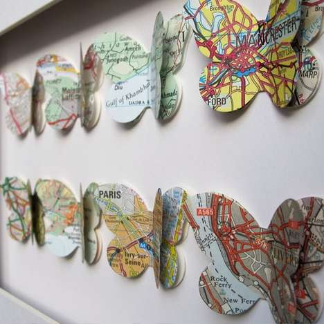 Mapped Insect Displays - The Terrordome Etsy Shop Creates Intricate Cut-Out Artworks