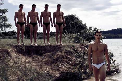 Underwear-Clad Clones - This Photo Shoot of Jeff Thomas by Juan Deleon Features Multiplied Models