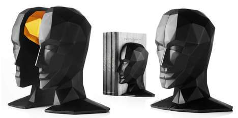 Brainy Book Holders - Karim Rashid 'Knowledge in the Brain' Bookends are Smart and Stylish