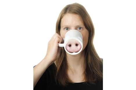 Porcine Coffee Cups - The Pig Nose Mug Gives You a Snout Each Time You Sip