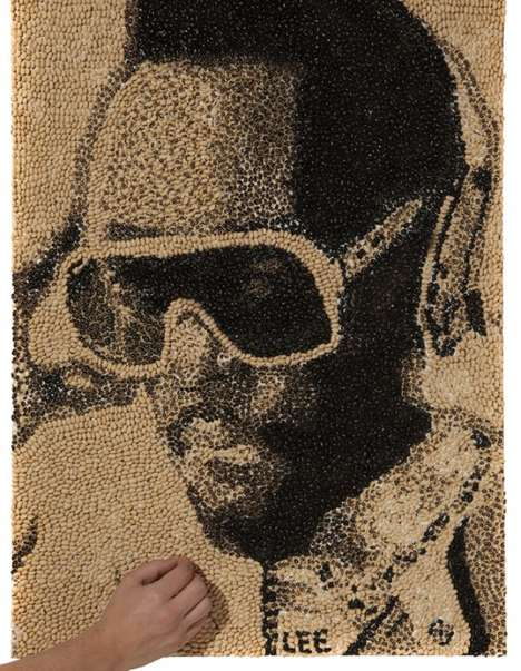 The Lee Mericks Will.I.Am Portrait is Made from 5Kg of Black Eyed Peas