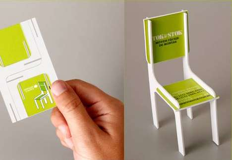 Professional Profile Furnishings - This Tok & Stok Business Card Constructs a Model Chair