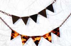 Street Flag Neckwear - The 'Carnival Bunting Pennant OOAK Necklace' is a Touch of Summer