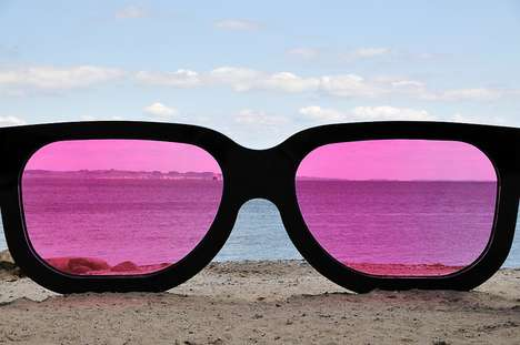 Oversized Beach Viewers - Marc Moser Creates a Giant Pair of Wayfarers with Pink Lenses