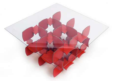 Vibrant Puzzle Furniture - The Mudo Table Adds a Dash of Radiant Red to the Dining Room