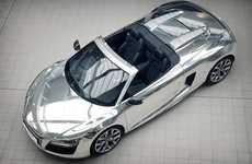 Mirror-Finish Convertibles - The Chrome Audi R8 Spyder Will Be Auctioned Off for Charity