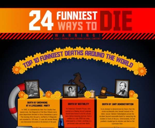 Hilarious Death Charts : 24 Funniest Ways To Die Infographic