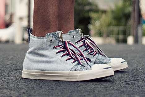 Distressed Denim Sneakers