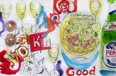 Cuisine Consumption Art - The David Meldrum Food Illustator Project Tracks 365 Days of Eating