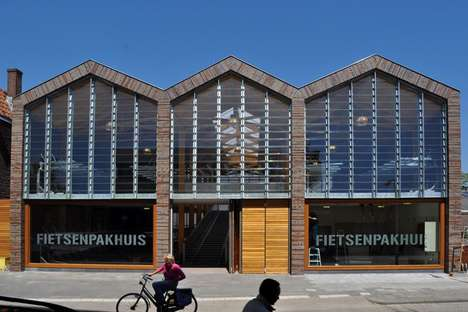 Bike Parking Buildings - The Nunc Architects Fietsenpakhuis Protects Cycles and the Environment