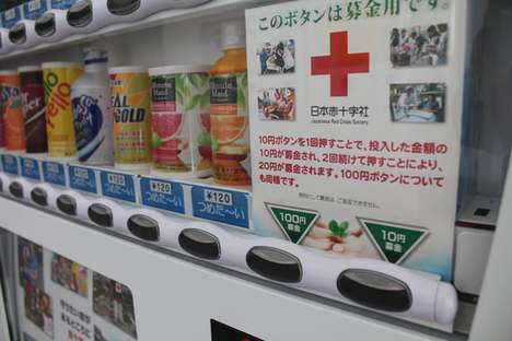 The Coca-Cola Japanese Red Cross Charity Soda Machines are Donation-Ready