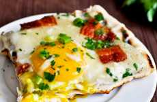 Charred Sunrise Snacks - The Grilled Breakfast Pizza is an Ideal Combo of Bacon, Eggs and Cheese