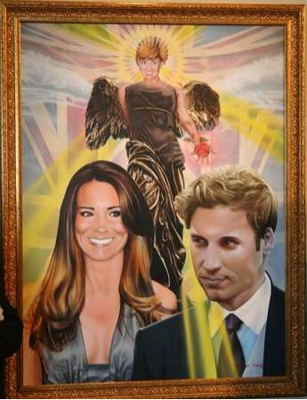 Steven Vaughan Paints William, Kate and Diana as Immaculate Icons