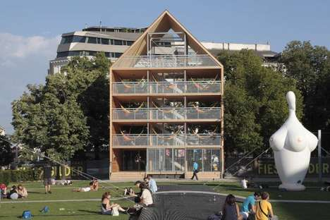 Public Hammock Houses - Flederhaus by Heri & Salli is a Vertical Park of Repose