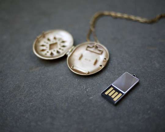 Delicate Flash Drive Necklaces : USB Lockets by Emily Rothschild
