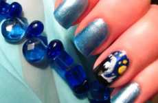 Dark Sky Manicures - This Tutorial for Van Gogh Nail Art Features a Starry Night