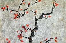 Newspaper Decoupage Art - Gradification Creates This Collage of a Japanese Cherry Tree