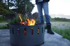 Upcycled Bonfire Pits - The Fire Ring Sets Aflame with Ease & Holds Your Drinks Conveniently