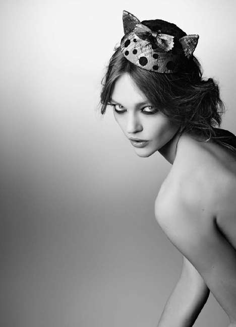 Undressed Headwear Lookbooks - The Maison Michel Autumn/Winter Campaign With Sasha Pivovarova