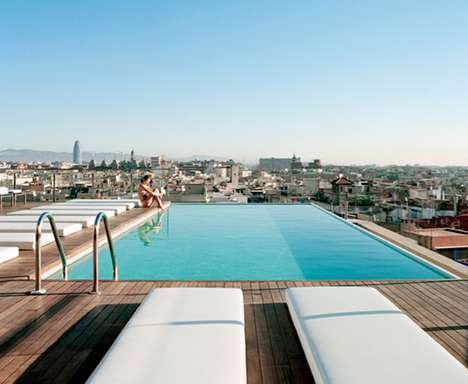 Magestic Mountain-Top Infinity Pools - The Barcelona Grand Hotel Central Pool Overlooks the City
