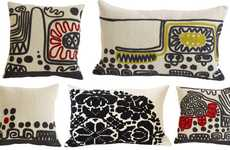 Childlike Embroidered Cushions - The De La Espada Pillows are Inspired by Ukrainian Folk Costumes