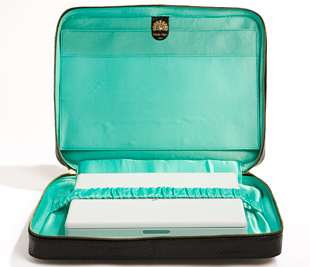Snakeskin Leather Laptop Bag with Vibrant Satin Lining