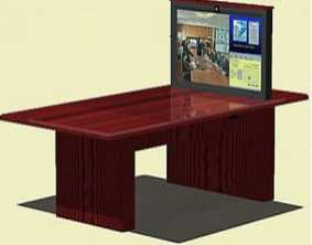 "Tele-Conferencing With 42"" Pop-Up TV"