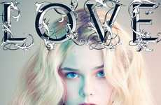 Eerie Ethereal Cover Prints - The Elle Fanning LOVE Magazine Cover Looks Like a Dream