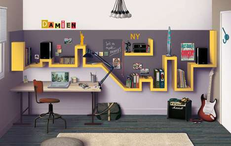 Cityscape Shelves - Du Cote de Chez Vous Designs Home Office Plan Inspired by NYC