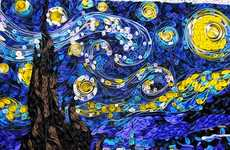 Coiled Paper Paintings - Quilled Starry Night is Full of Vibrancy and Movement Like the Original
