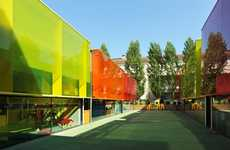 Psychedelic Kiddie Schools - The 'Els Colors Kindergarten' in Spain Juxtaposes Cool Colors