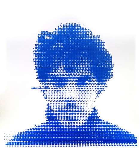 Pointilist Printed Pen Portraits