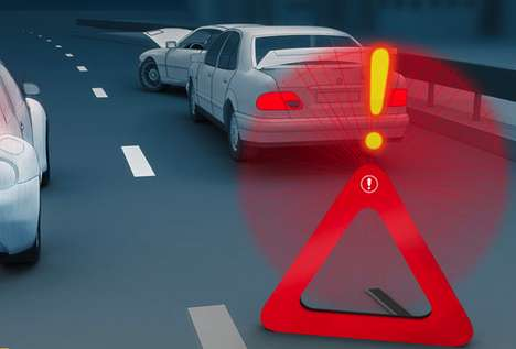 Exclamatory Hazard Signals - The LED Lights Barrier Prevents Collisions Against Breakdowns