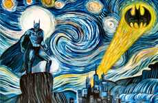 Superhero Expressionist Paintings - The Dark Starry Night Transforms Bruce Wayne into Classy Art