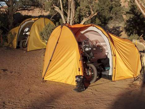 Motorcycle Camping Shelters - Redverz Tenere Expedition Tent Shields the Vehicle from Rain
