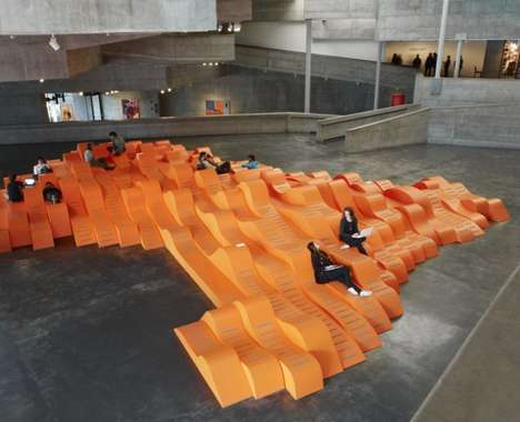 Bright Undulating Benches - BAMscape by Faulders Studio Fosters Social Interaction in a Museum