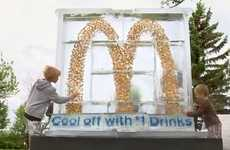 Coined Golden Arches - McDonald's Dollar Drink Days Ice Sculpture Holds 4,000 Canadian Dollar Coins