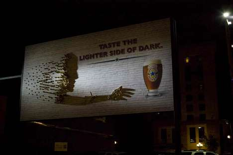 "Shadow Illusion Advertising - The Newcastle Brown Ale Billboard Shows the ""Lighter Side of Dark"""
