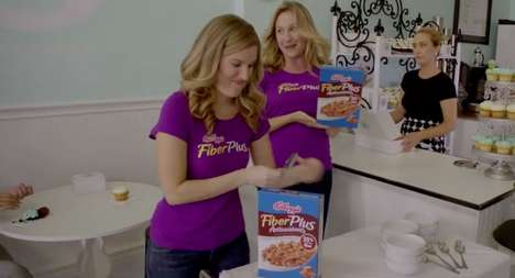 Cupcake-Trumping Cereal - The Kellogg's Fiber Plus Cupcake Commercial Satisfies Your Sweet Tooth