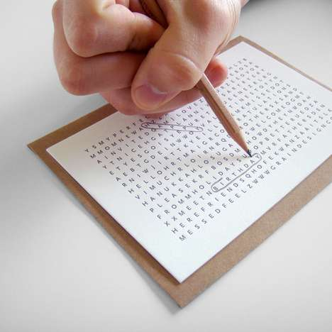 Word Search Greetings - The Utility Card Offers Sentiments in a Playful Manner