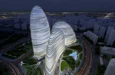 Sleek Sliced Metal Complexes - Beijing's Wangjing Soho Complex is a Contemporary Architecture Dream
