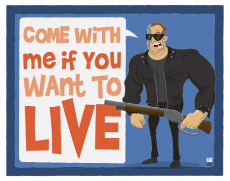 Ian Glaubinger Draws Arnold Schwarzenegger with His Famous Lines