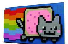 Tangible Internet Memes - LEGO Nyan Cat Mimics Computer Pixels with Children's Toy Blocks